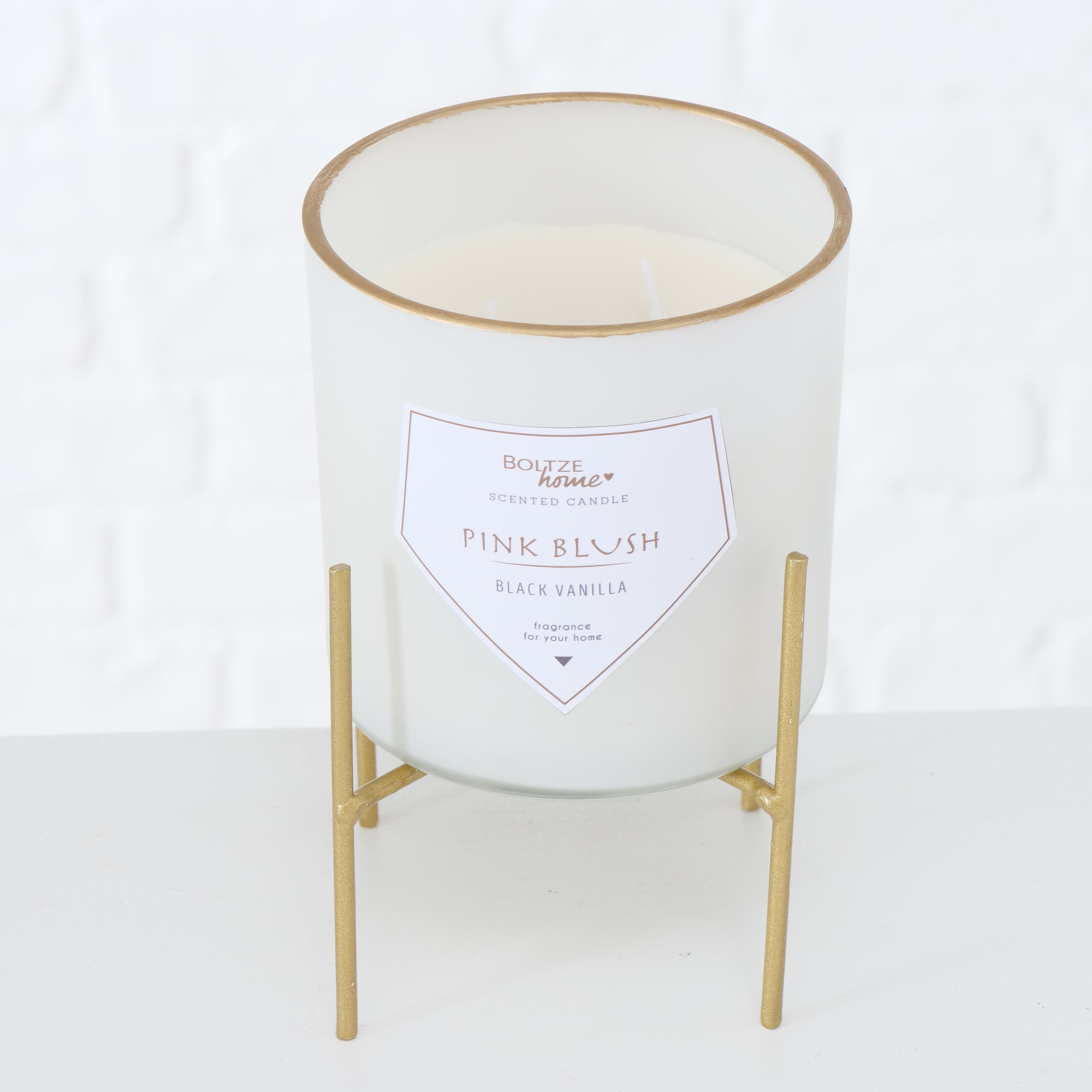 Lumanare parfumata in pahar cu 2 fitile si suport inclus Karin Alb, Ø10xH10 cm poza