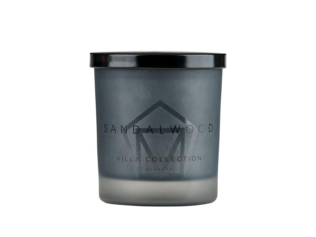 Lumanare parfumata in pahar Sandalwood Large 14051 Gri, Ø9xH11 cm, Villa Collection poza