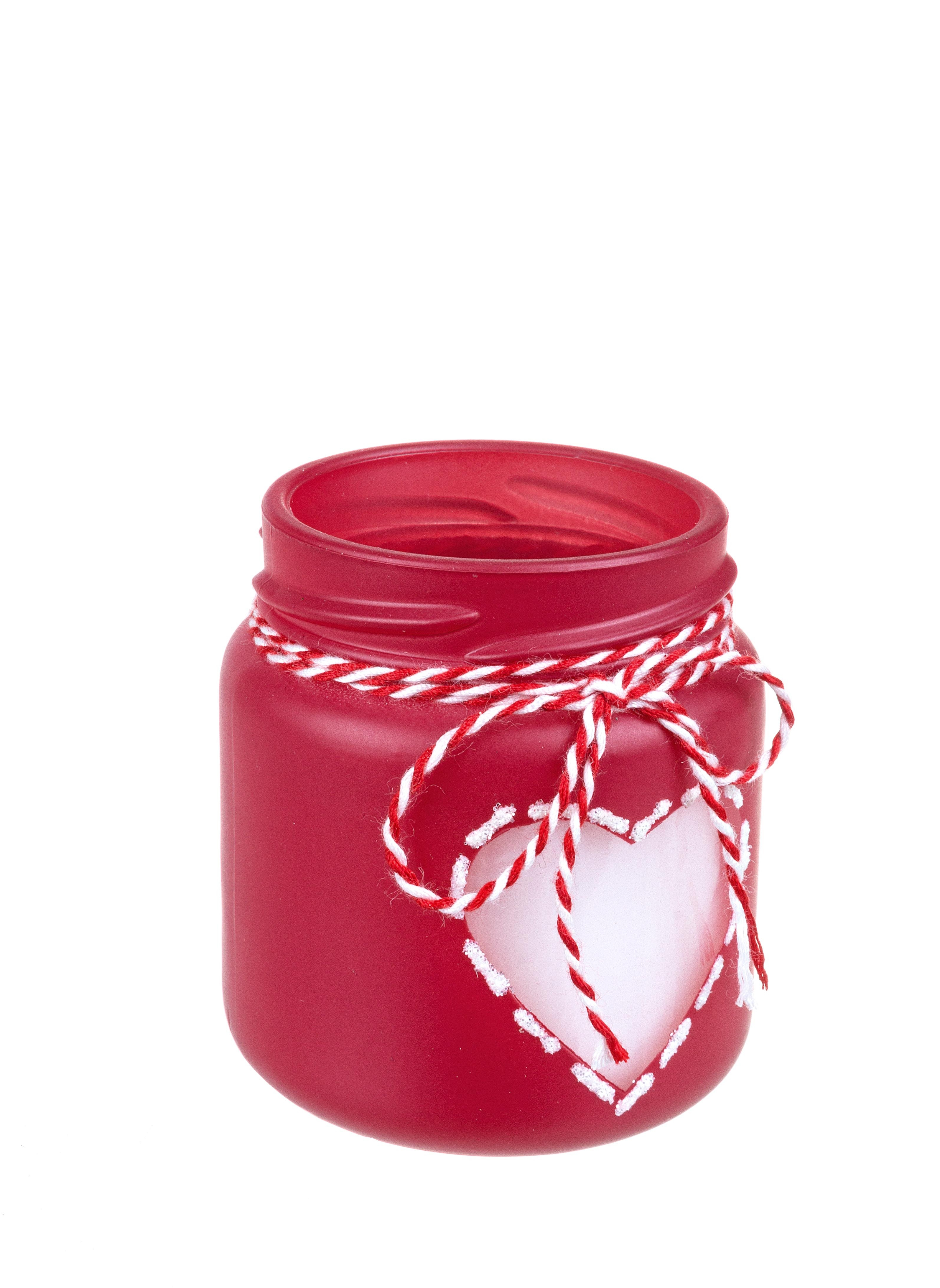 Lumanare parfumata Lovely Rosu / Alb, Ø5,8xH6,6 cm