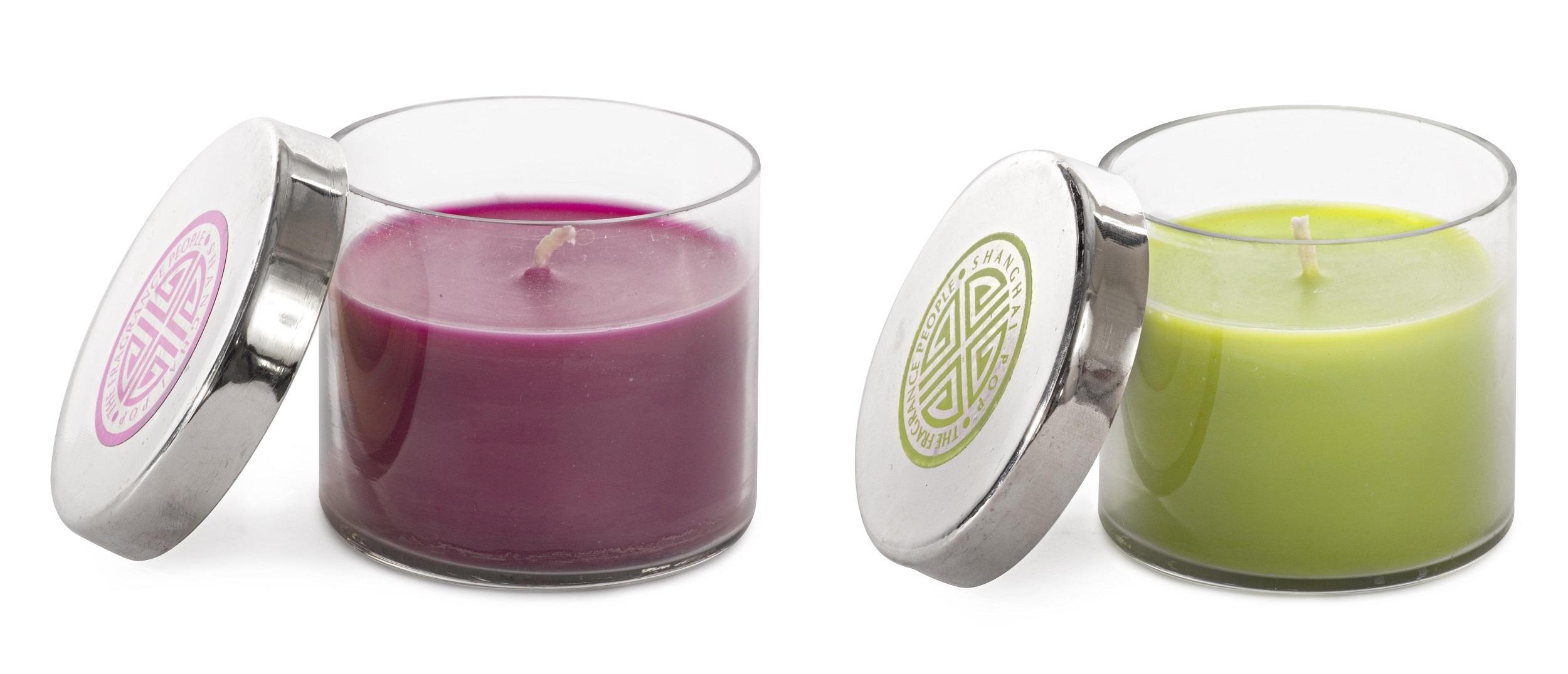 Lumanare parfumata, Pop Verde / Rosu, Modele Asortate, Ø7,2xH6,5 cm poza