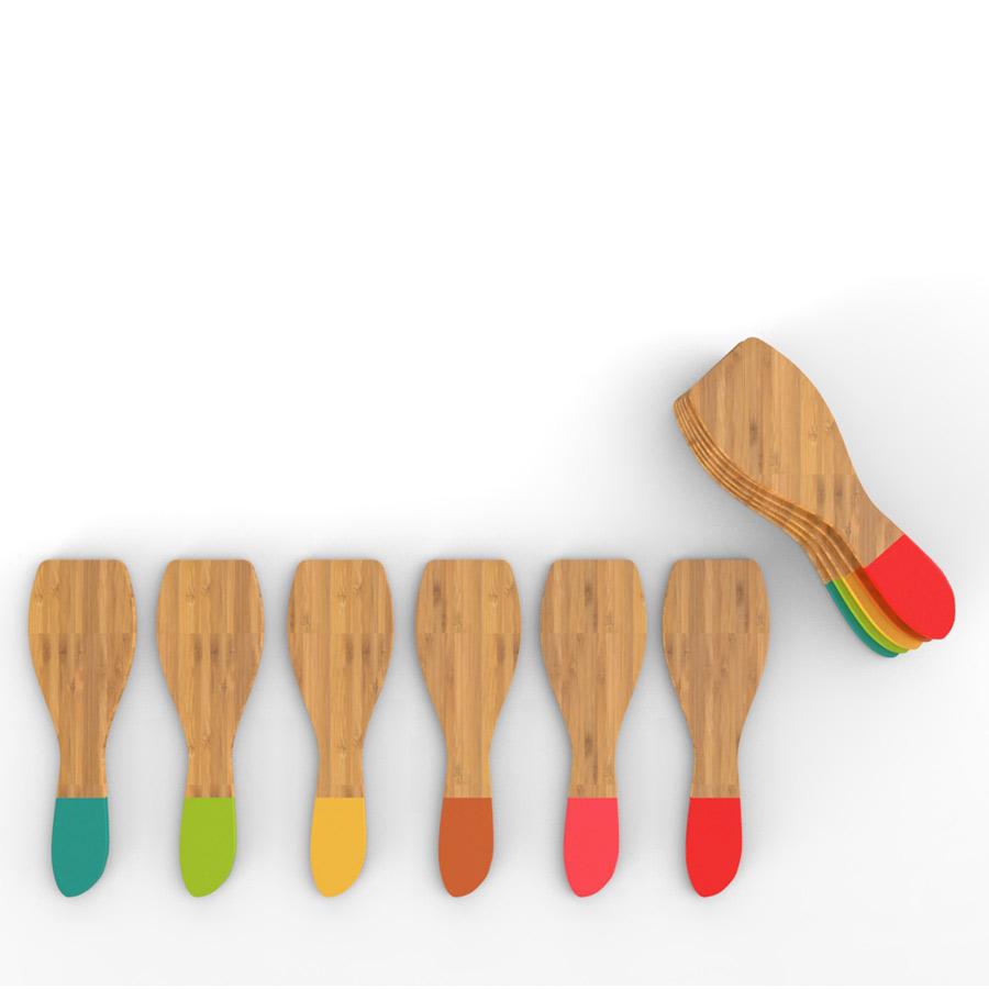 Set 6 Spatule Bambus, Multicolor imagine