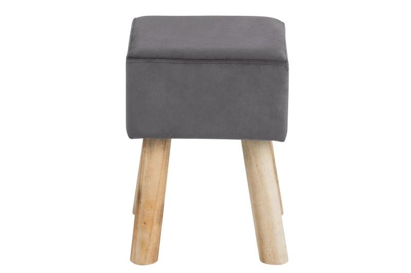 Taburet tapitat cu stofa cu picioare din lemn de pin Maren Grey II l28xA28xH40 cm