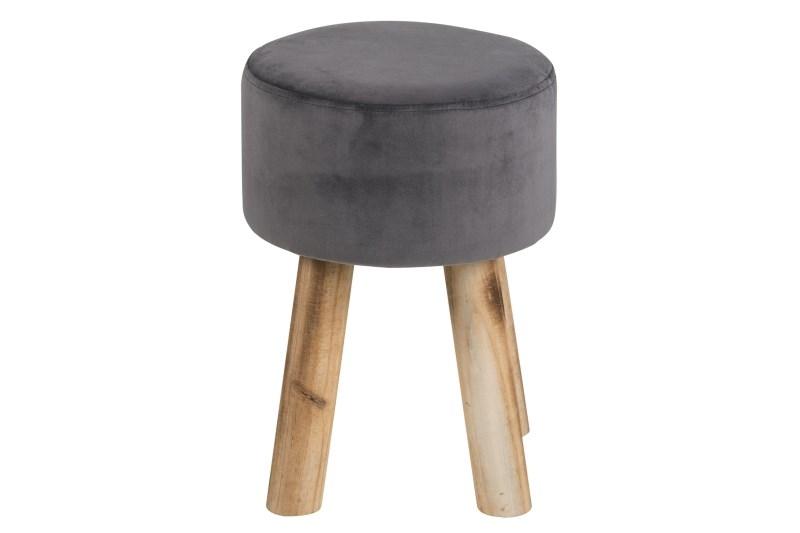 Taburet din lemn de pin si stofa Maren Grey