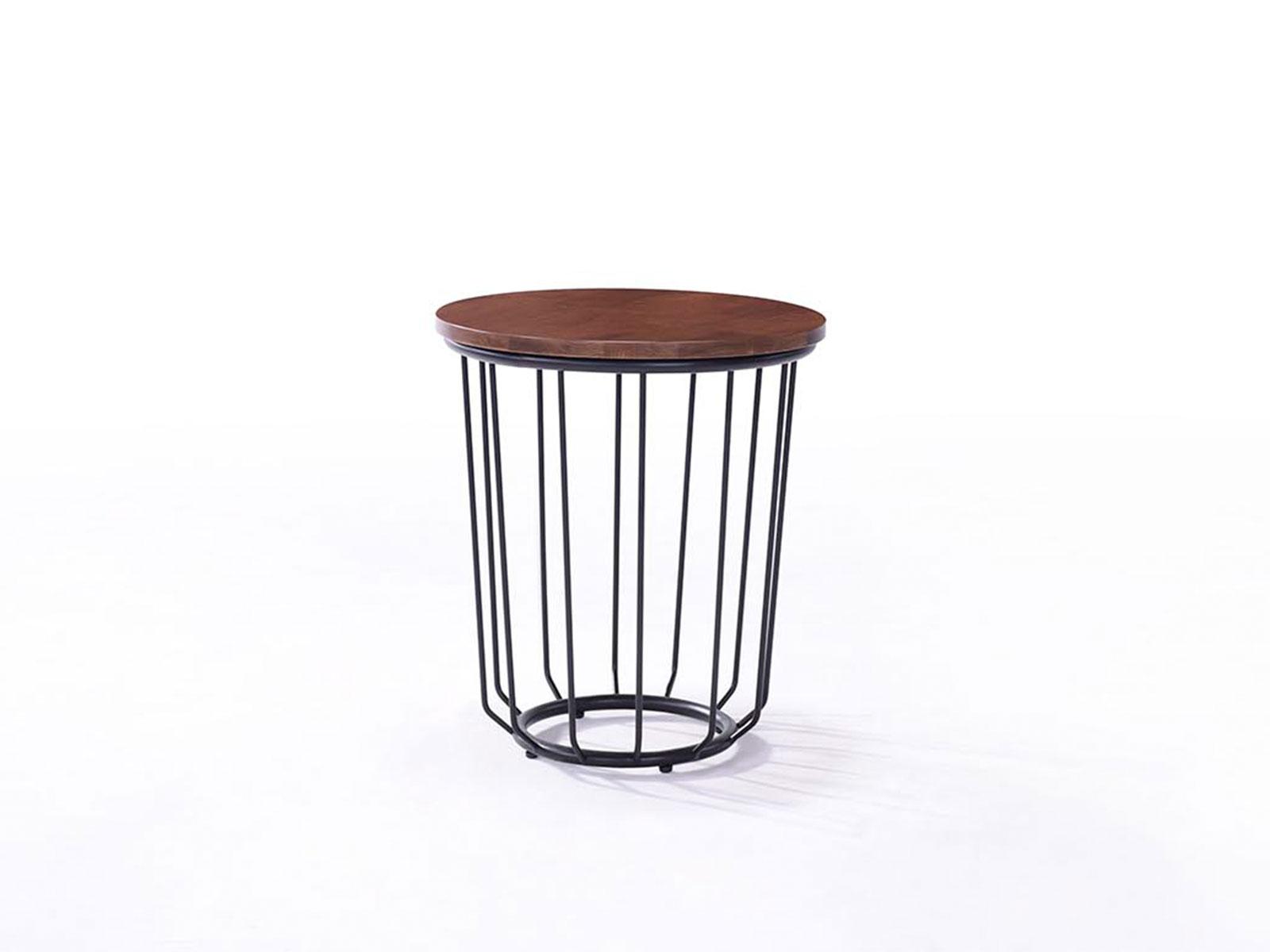 Masa de cafea rotunda din lemn cu picior metalic Esther Walnut O45xh50 cm