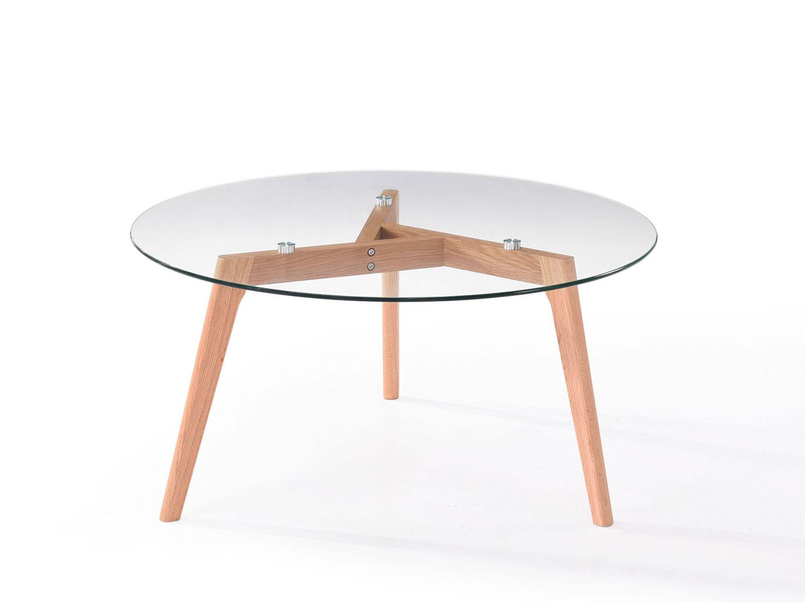 Masa rotunda de cafea din sticla cu picioare de lemn Elma Beech O90xh45 cm