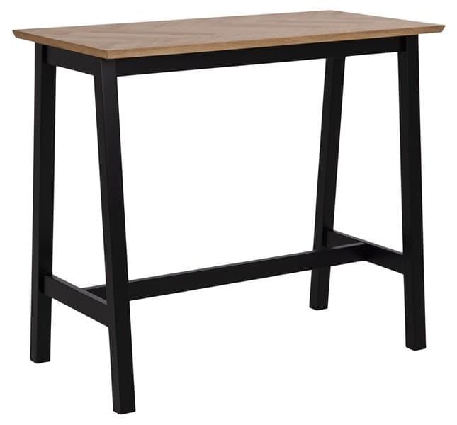 Masa de bar din furnir si MDF Brighton Stejar / Negru, L120xl60xH105 cm poza