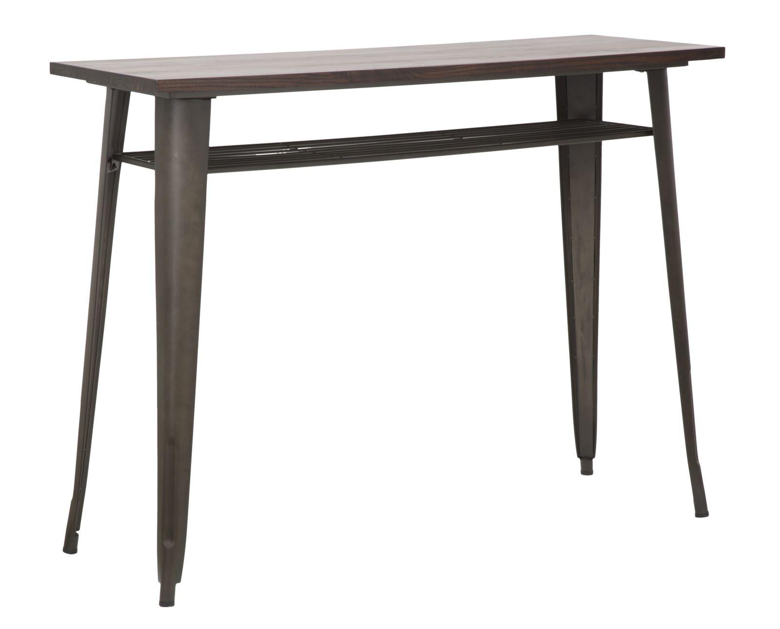 Masa de bar din lemn de ulm si metal Harlem Black, l125xA45xH95 cm