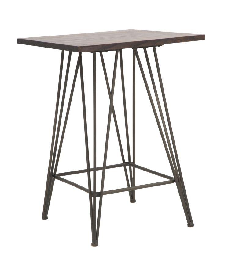 Masa de bar din lemn de ulm si metal Harlem Black, l60xA60xH85 cm