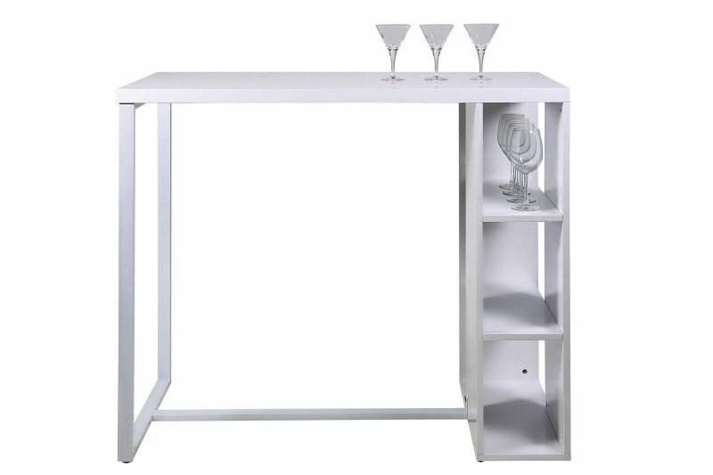 Masa de bar din MDF si metal Avocet Alb, L120xl60xH105 cm imagine