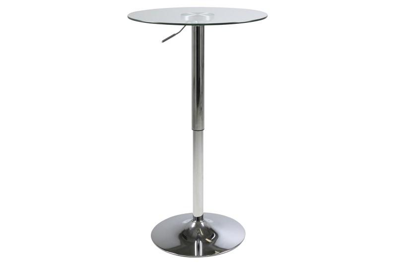 Masa de bar din sticla si metal Nido Crom, Ø60xH83-104 cm imagine