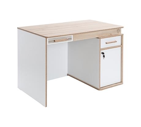 Masa de birou cu blat extensibil din pal pentru tineret Dynamic White / Nature L110xl71xH75 cm