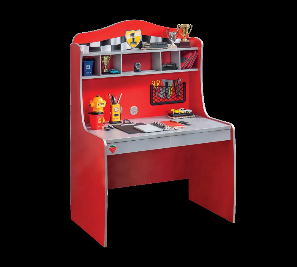 Masa de birou cu etajera din pal pentru copii Race Cup Red / Light Blue L104xl68xH152 cm