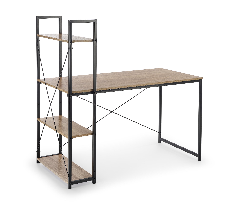 Masa de birou cu etajera din pal si metal Narvik B1 Sonoma Oak / Black L120xl64xH120 cm