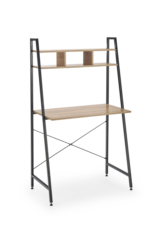 Masa de birou cu etajera din pal si metal Narvik B2 Sonoma Oak / Black L84xl46xH142 cm