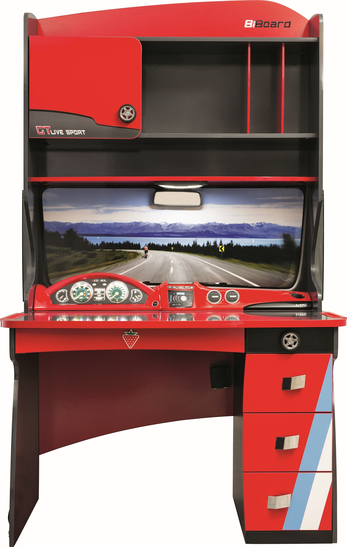 Masa de birou cu etajera din pal pentru copii Champion Racer Red / Grey L117xl70xH196 cm
