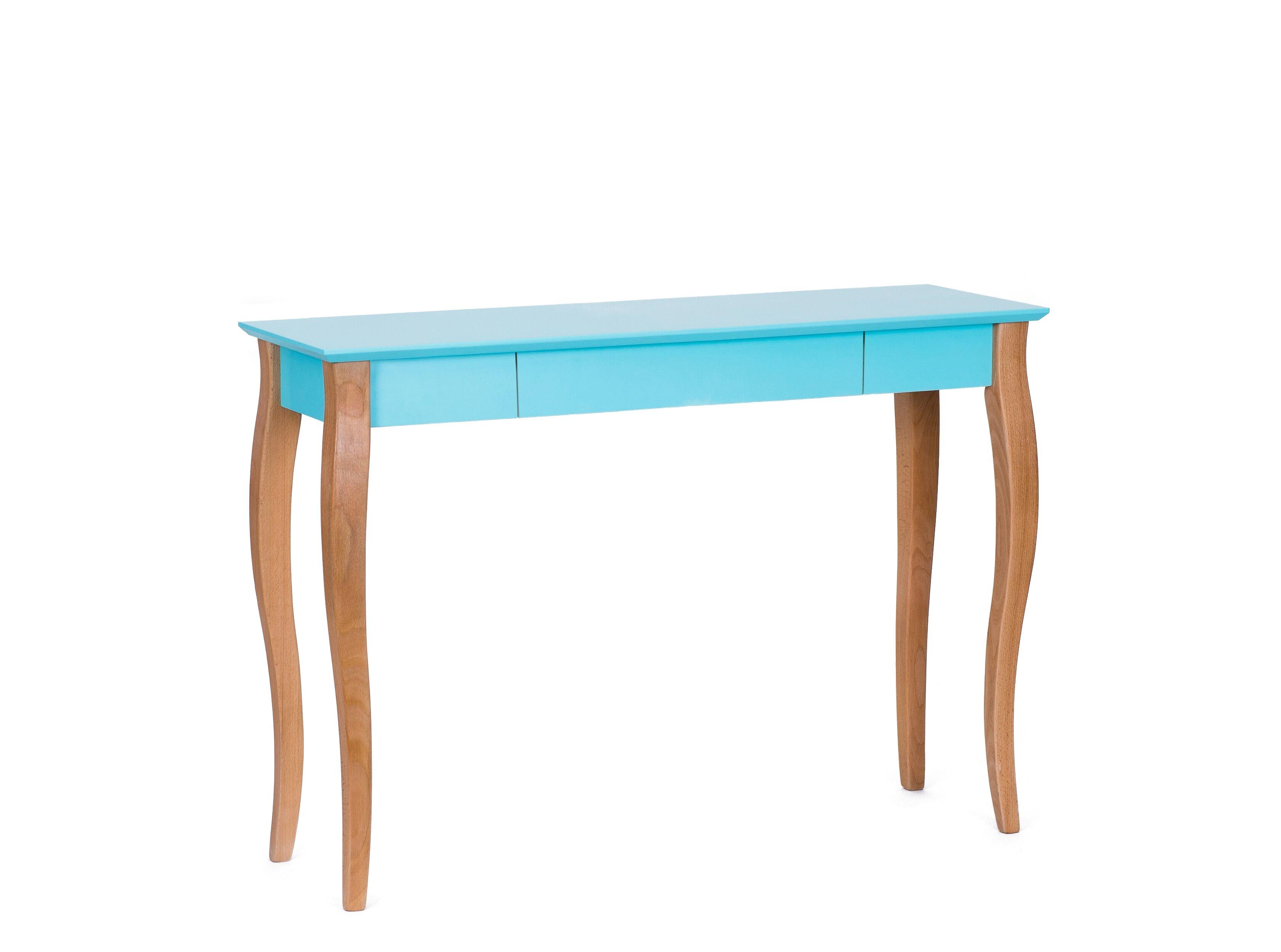 Masa de birou din lemn de fag si MDF cu 1 sertar Lillo Large Dark Turquoise / Beech L105xl40xH74 cm