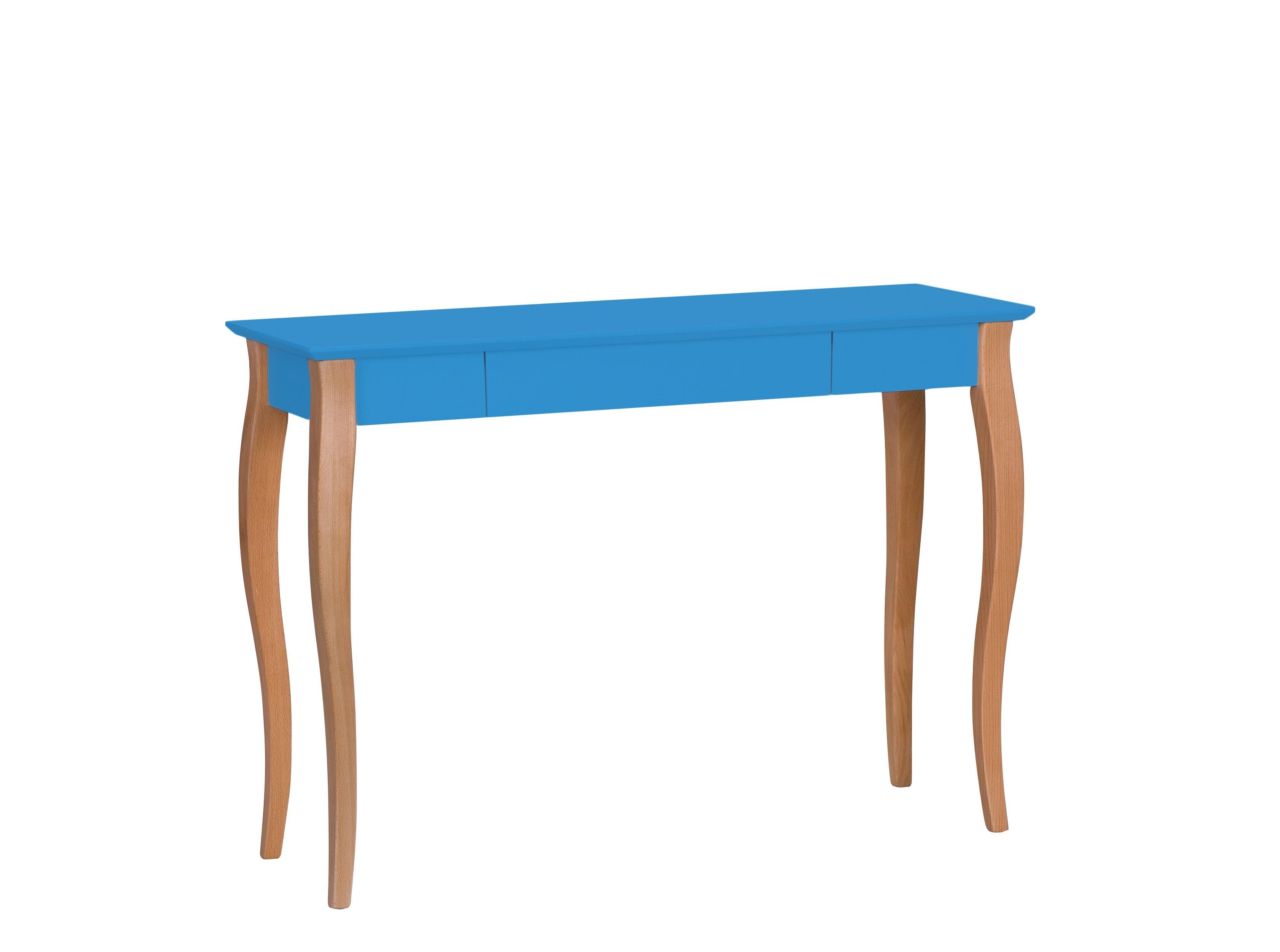 Masa de birou din lemn de fag si MDF cu 1 sertar Lillo Large Sky Blue / Beech L105xl40xH74 cm