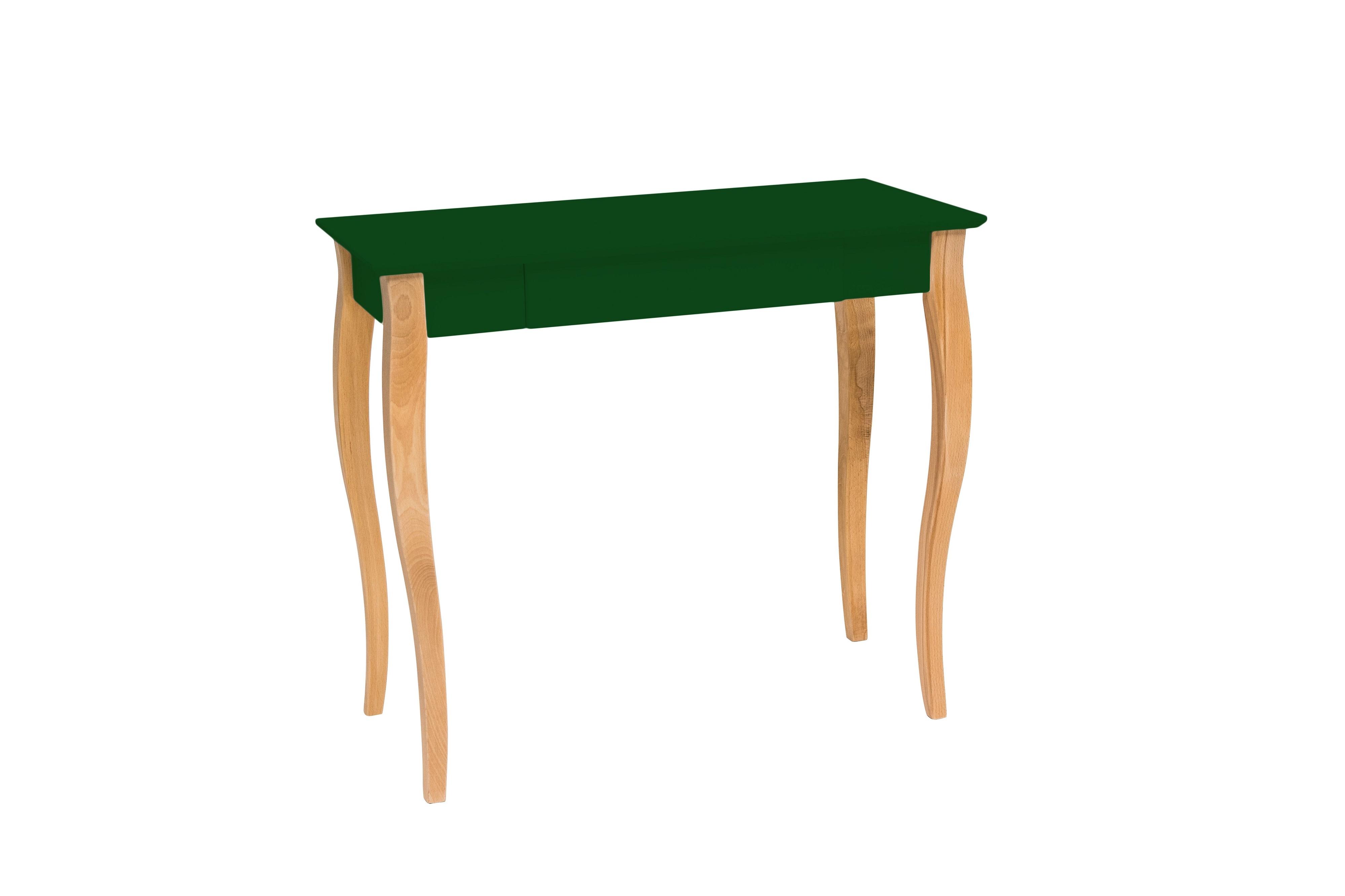 Masa de birou din lemn de fag si MDF cu 1 sertar Lillo Medium Dark Green / Beech L85xl40xH74 cm