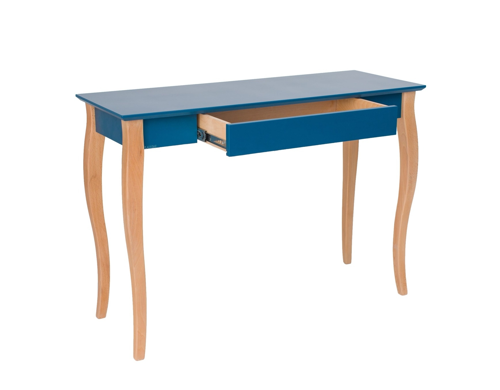 Masa de birou din lemn de fag si MDF cu 1 sertar Lillo Medium Petrol Blue / Beech L85xl40xH74 cm