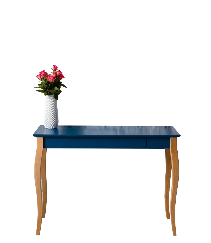 Masa de birou din lemn de fag si MDF cu 1 sertar Lillo Large Petrol Blue / Beech L105xl40xH74 cm