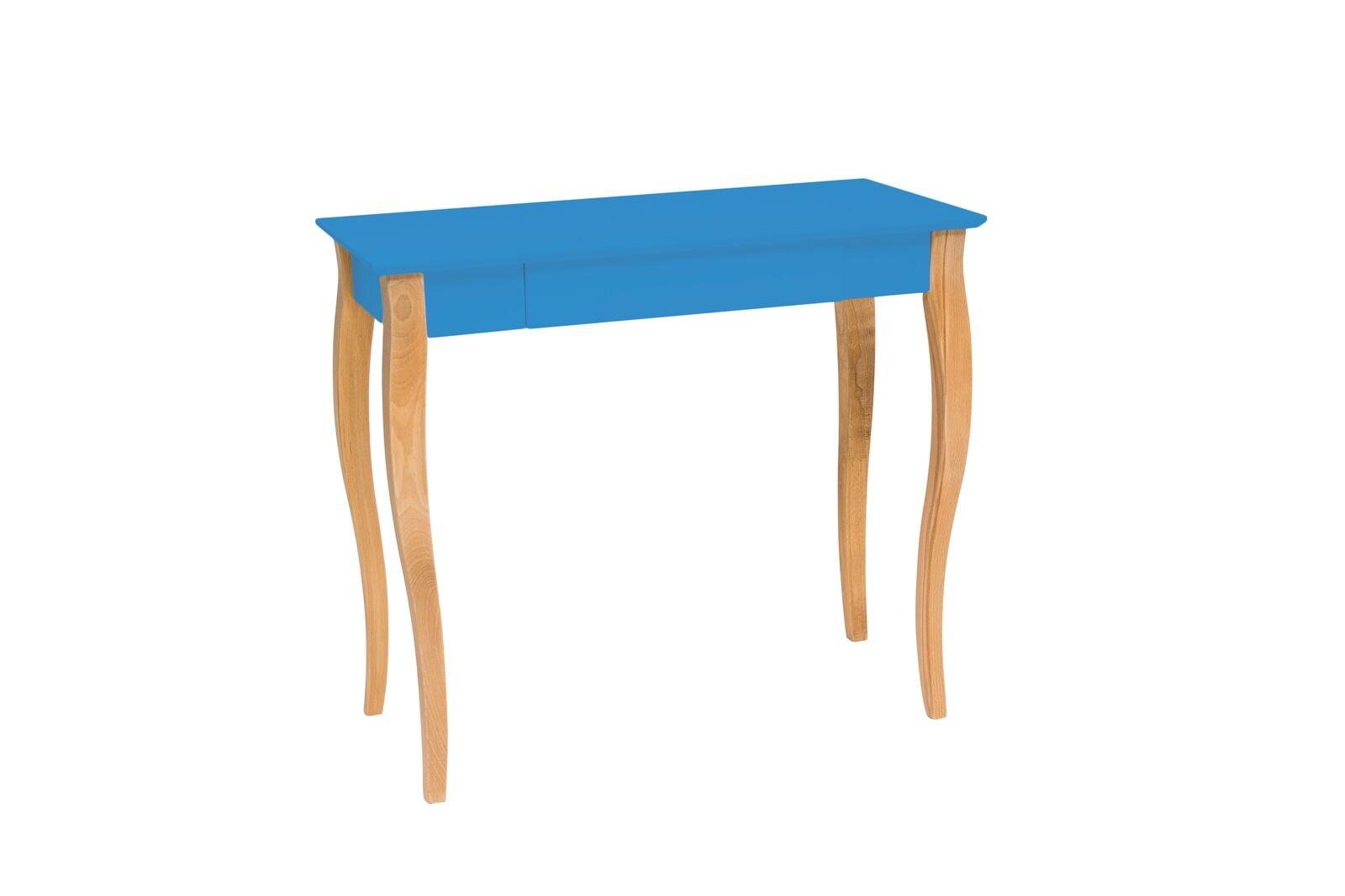 Masa de birou din lemn de fag si MDF cu 1 sertar Lillo Medium Sky Blue / Beech L85xl40xH74 cm