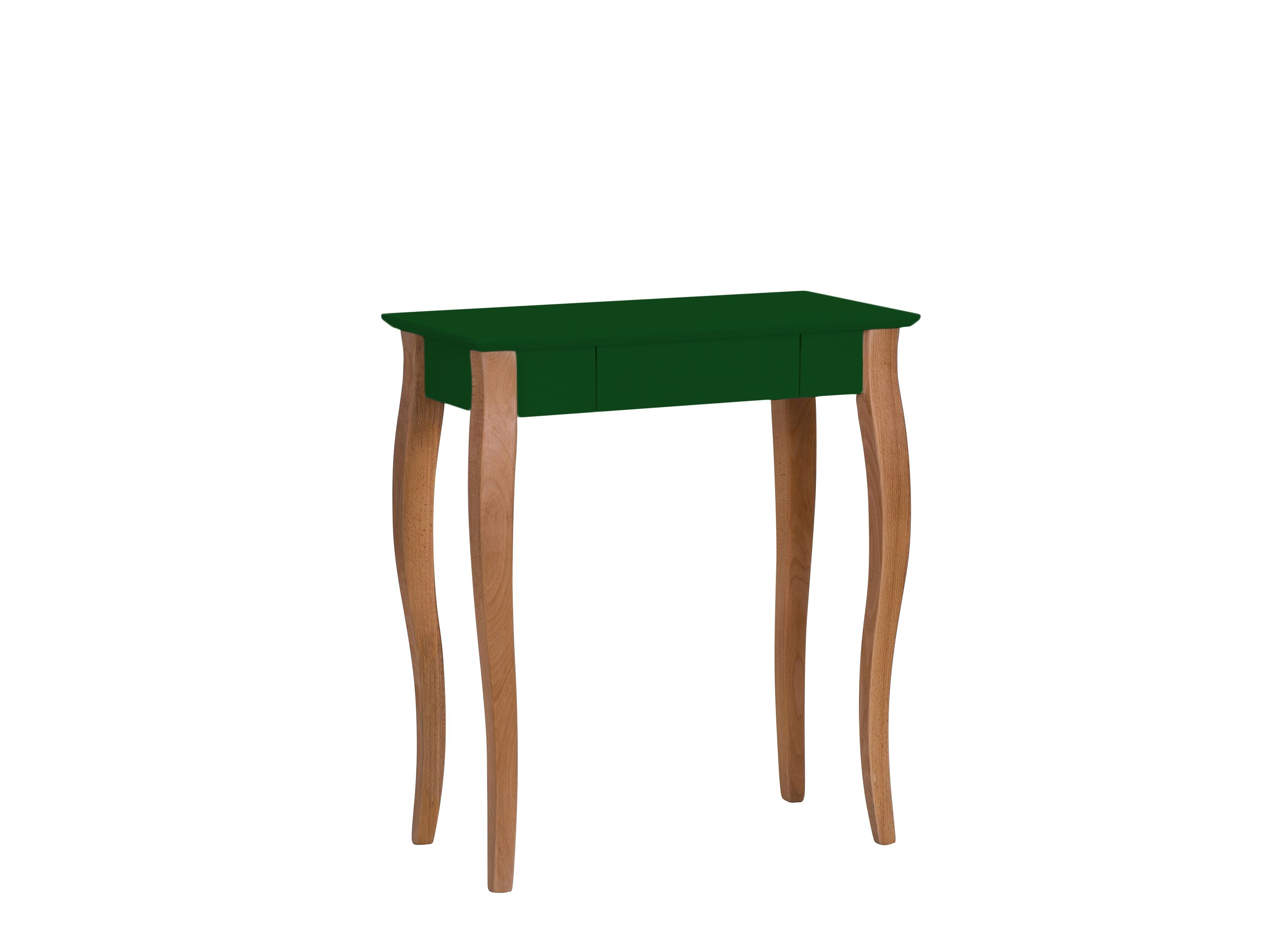 Masa de birou din lemn de fag si MDF cu 1 sertar Lillo Small Dark Green / Beech L65xl40xH74 cm