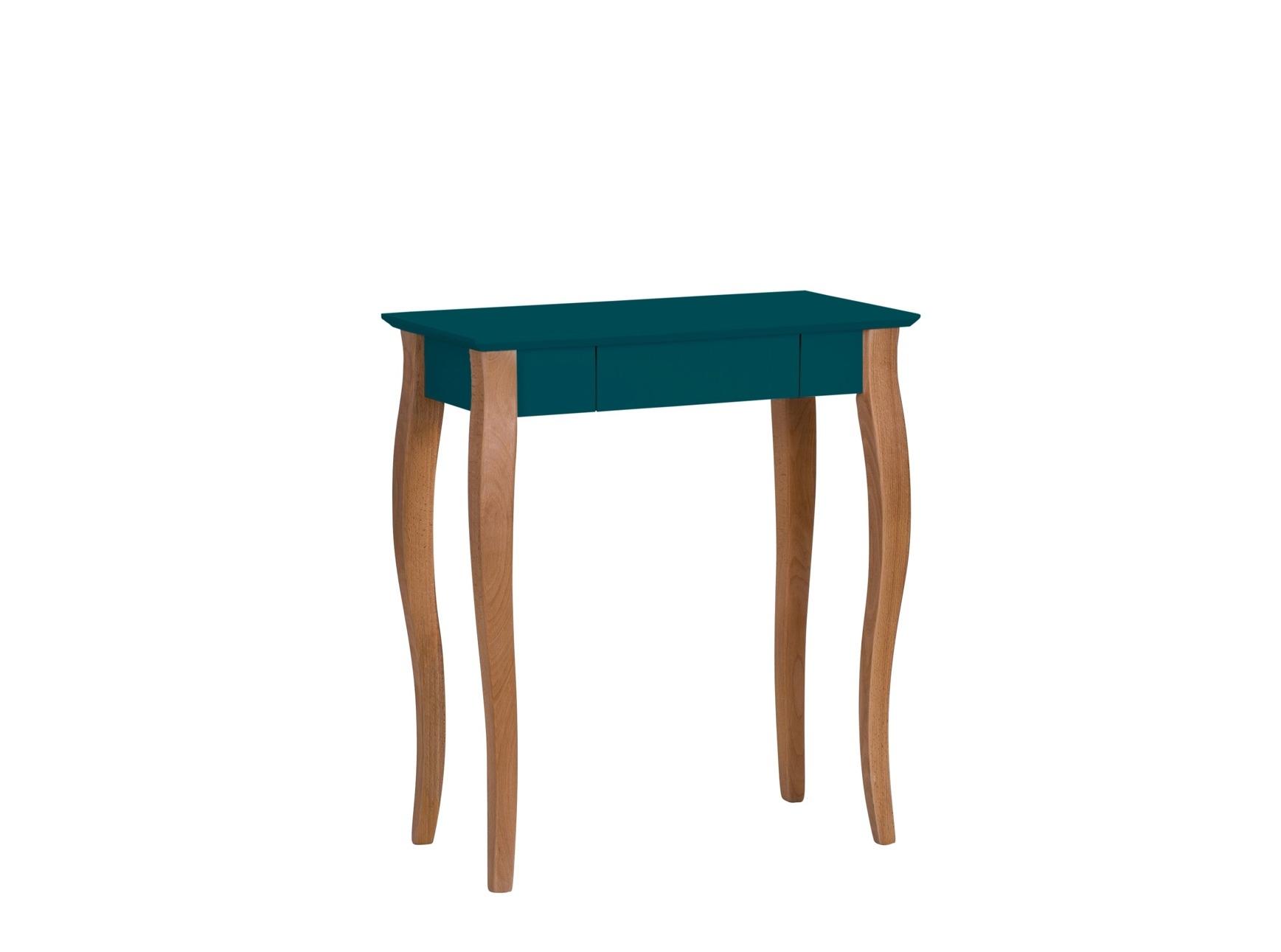 Masa de birou din lemn de fag si MDF cu 1 sertar Lillo Small Petrol Blue / Beech L65xl40xH74 cm
