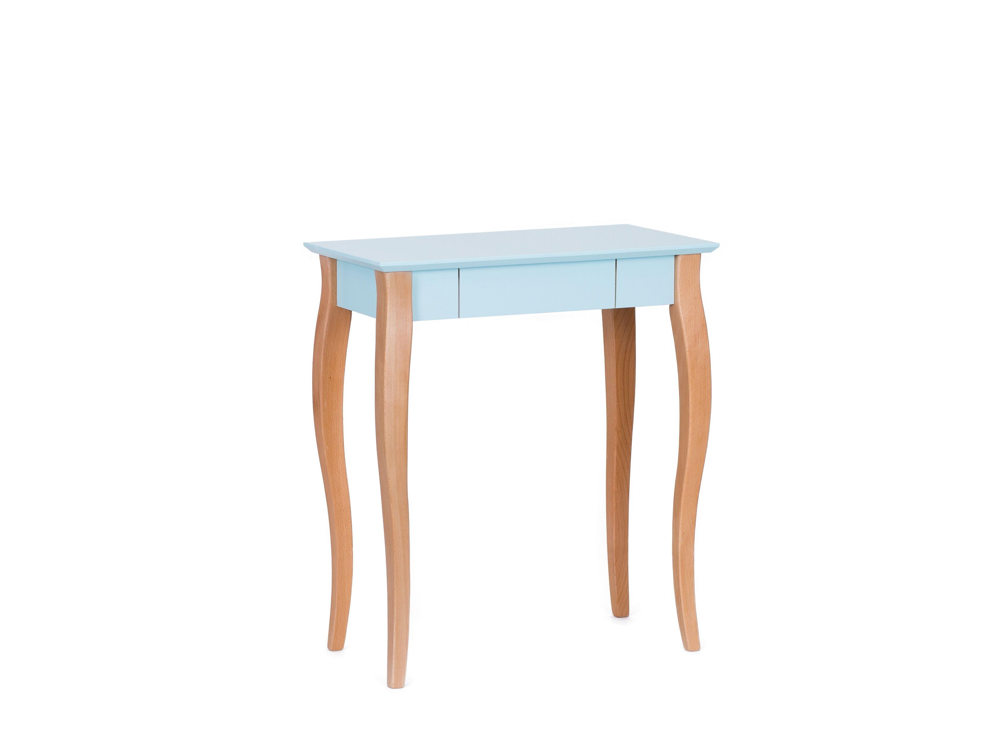 Masa de birou din lemn de fag si MDF cu 1 sertar Lillo Small Light Turquoise / Beech L65xl40xH74 cm