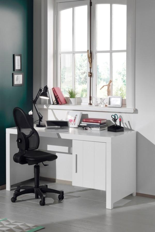 Masa de birou din lemn de pin si MDF cu 1 usa, pentru copii Erik Alb, L137xl70xH75 cm