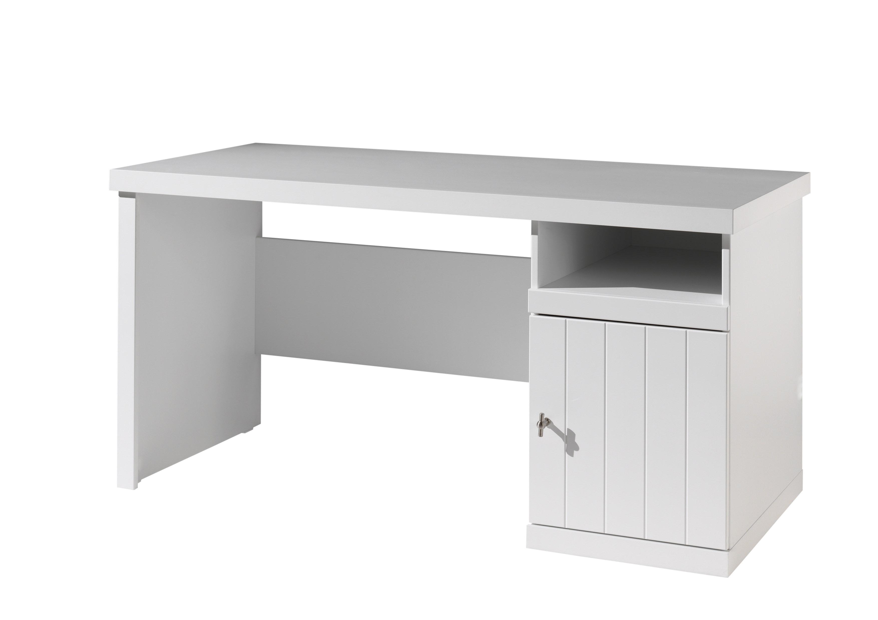Masa de birou din lemn de pin si MDF cu 1 usa, pentru copii Robin Alb, L150xl70xH75,5 cm imagine