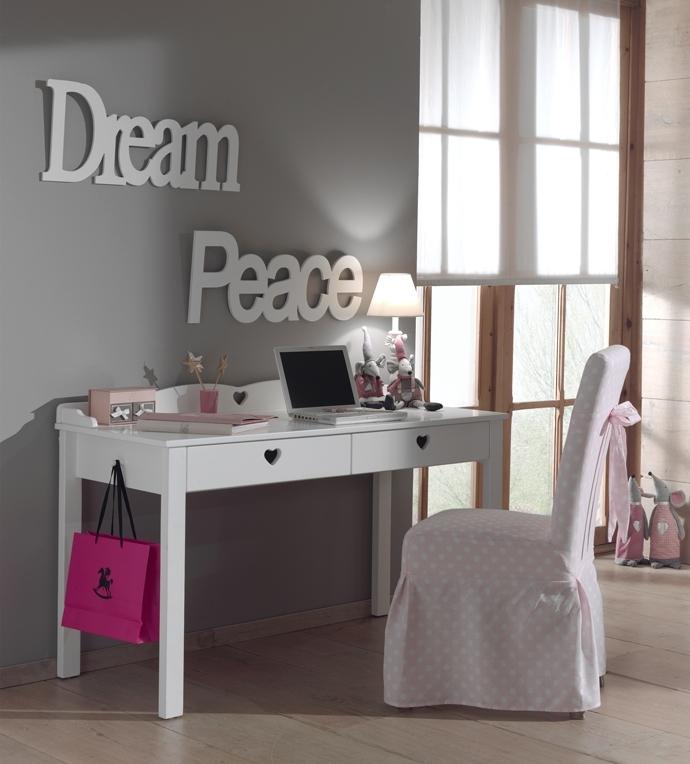 Masa de birou din lemn de pin si MDF cu 2 sertare, pentru copii Amori Alb, L130xl60xH84,5 cm imagine