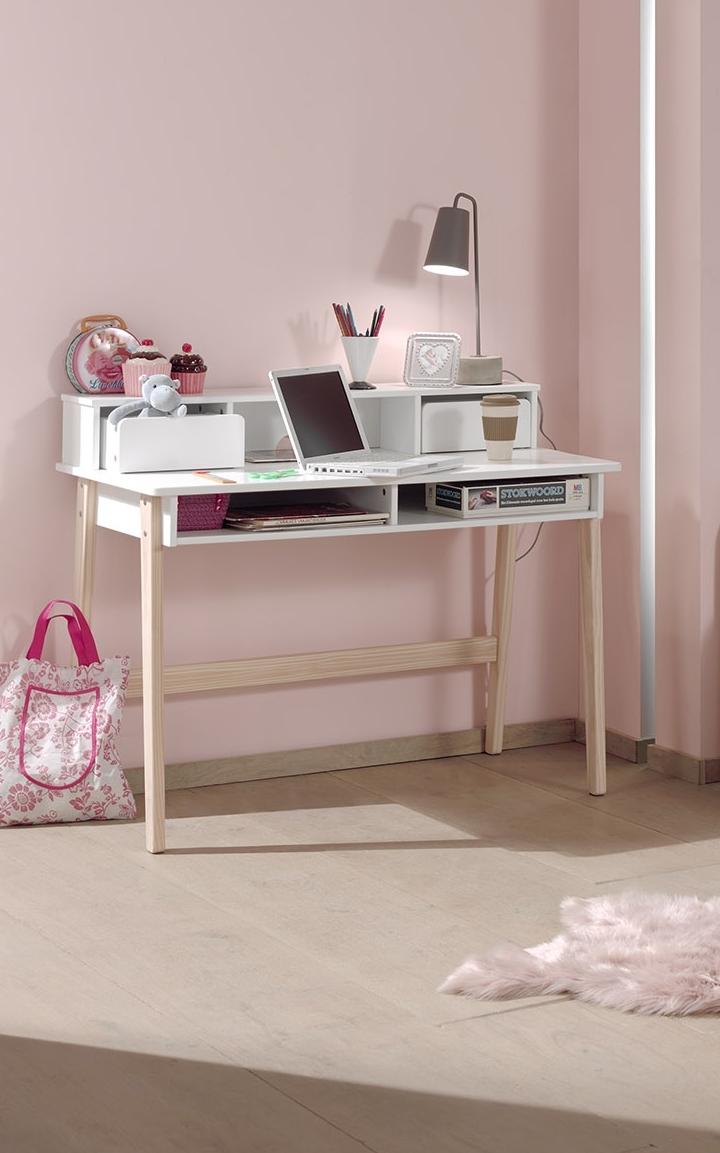 Masa de birou din lemn de pin si MDF cu 2 sertare, pentru copii Kiddy Alb, L110xl60xH90 cm imagine