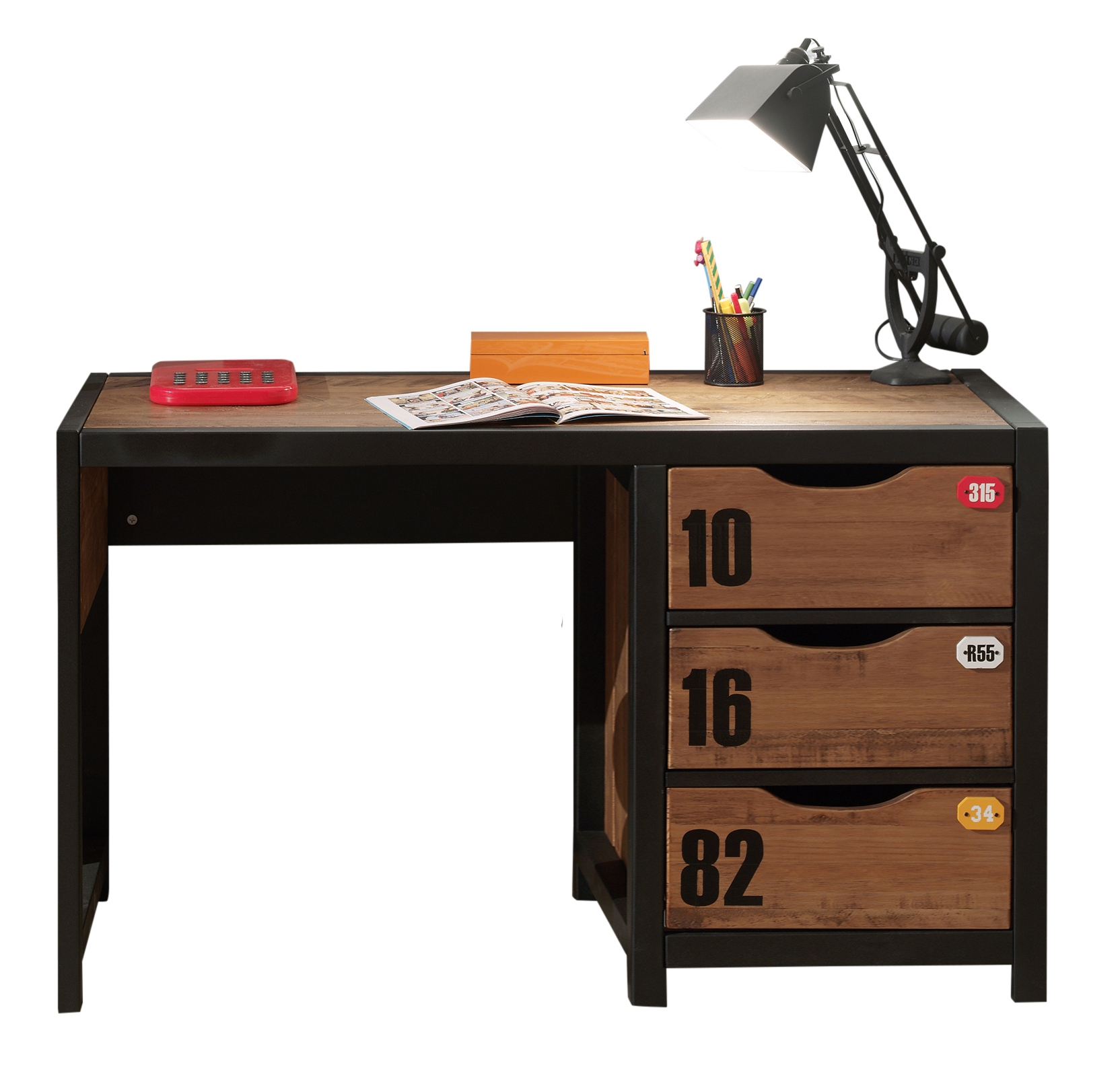 Masa de birou din lemn de pin si MDF cu 3 sertare, pentru copii Alex Natural / Negru, L130xl60xH75 cm imagine
