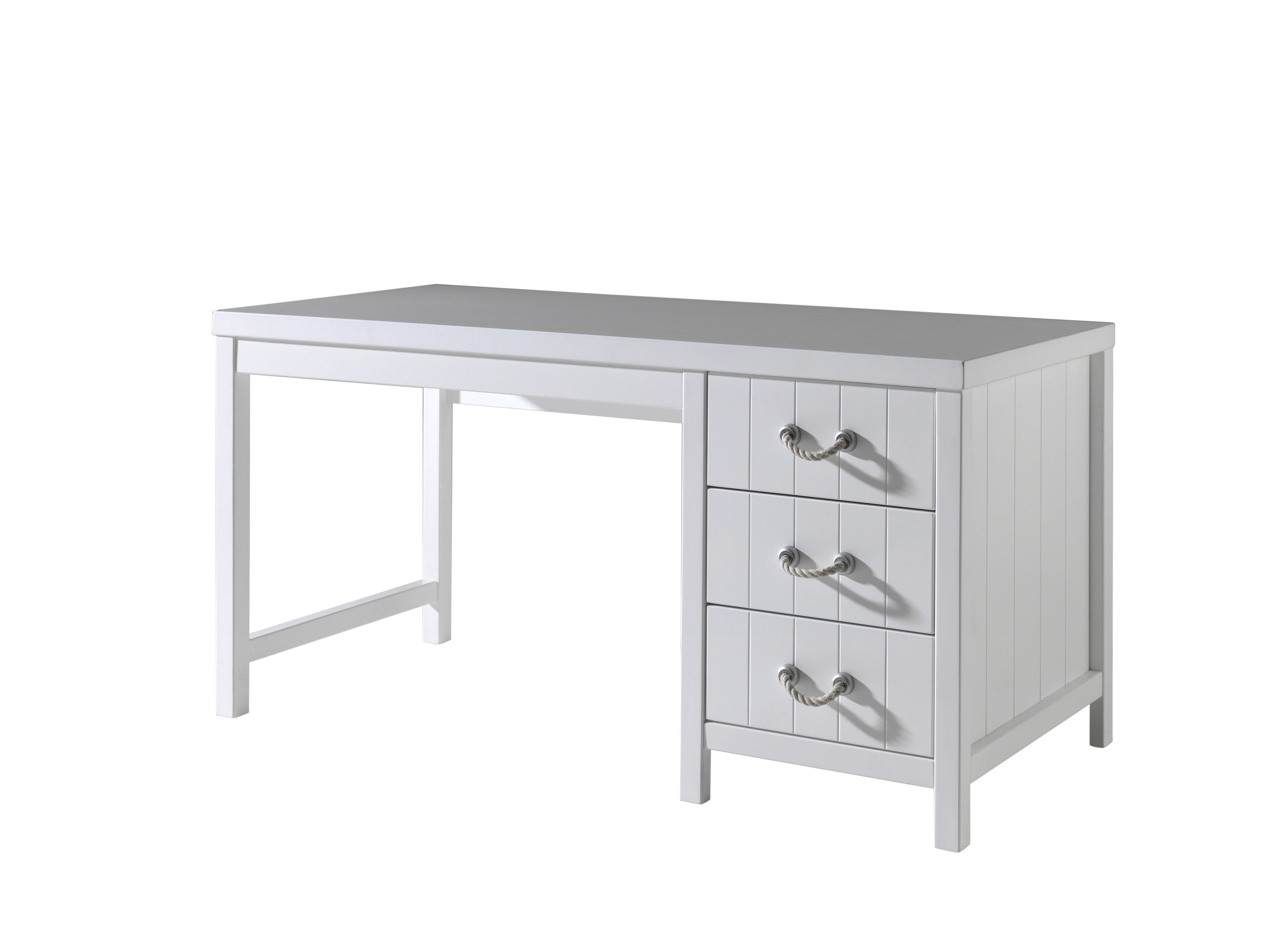 Masa de birou din lemn de pin si MDF cu 3 sertare, pentru copii Lewis Alb, L150xl70xH76 cm imagine