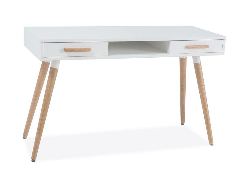 Masa de birou din MDF si lemn, cu 2 sertare Milan B1 Alb / Stejar, L120xl45xH75 cm somproduct.ro