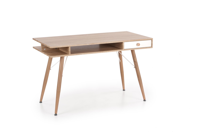 Masa de birou din MDF si metal cu 1 sertar B-34 Stejar Sonoma / Alb L120xl60xH75 cm