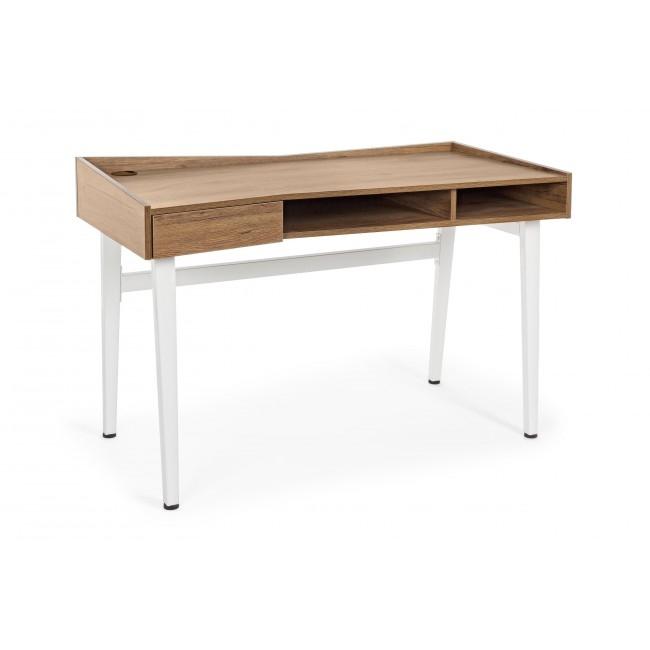 Masa de birou din MDF si metal cu 1 sertar Carol Natural / Alb L120xl60xH80 cm