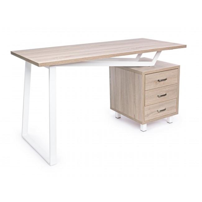 Masa de birou din MDF si metal cu 3 sertare Armande Natural / Alb L140xl60xH76 cm