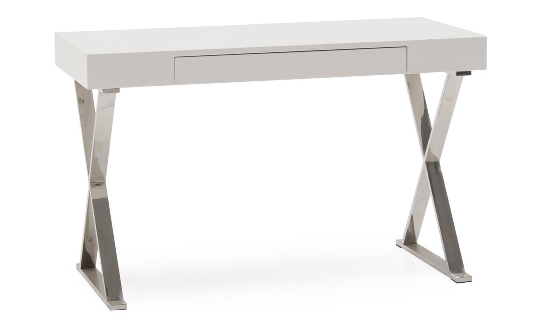 Masa de birou din MDF si metal cu 1 sertar Sienna White L120xl55xH76 cm