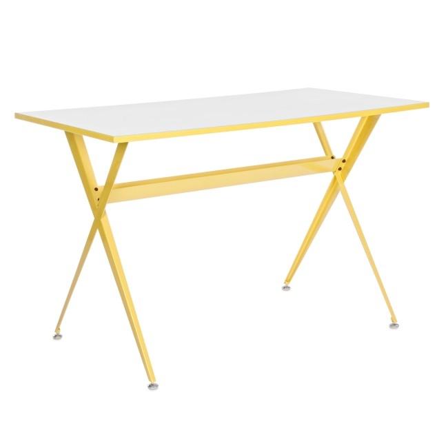 Masa de birou din MDF si metal Yuppie Galben / Alb L120xl60xH75 cm