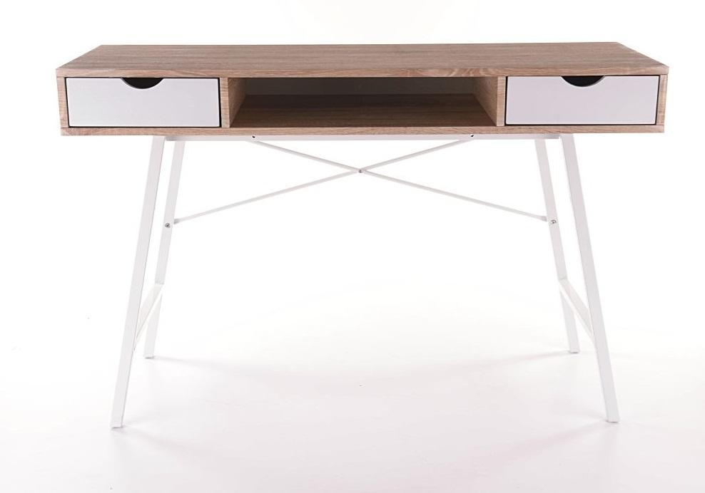 Masa de birou din MDF si metal, cu 2 sertare B-140 Stejar Sonoma / Alb, L120xl48xH76 cm poza