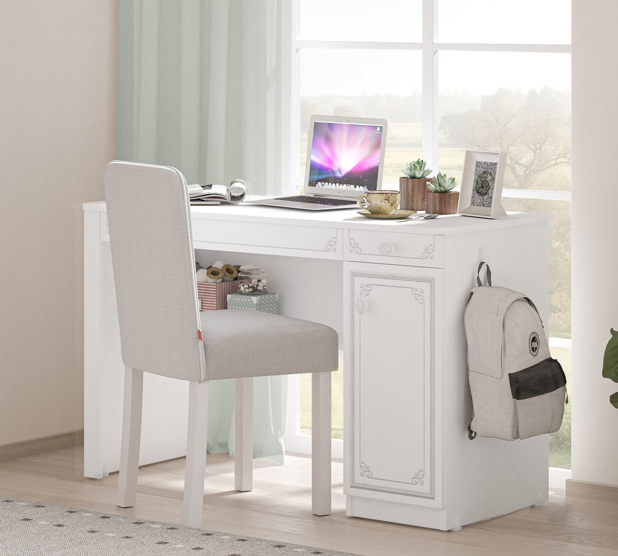 Masa de birou din pal, cu 1 usa si 2 sertare pentru tineret Selena Grey Alb / Gri, L120xl52xH75 cm imagine