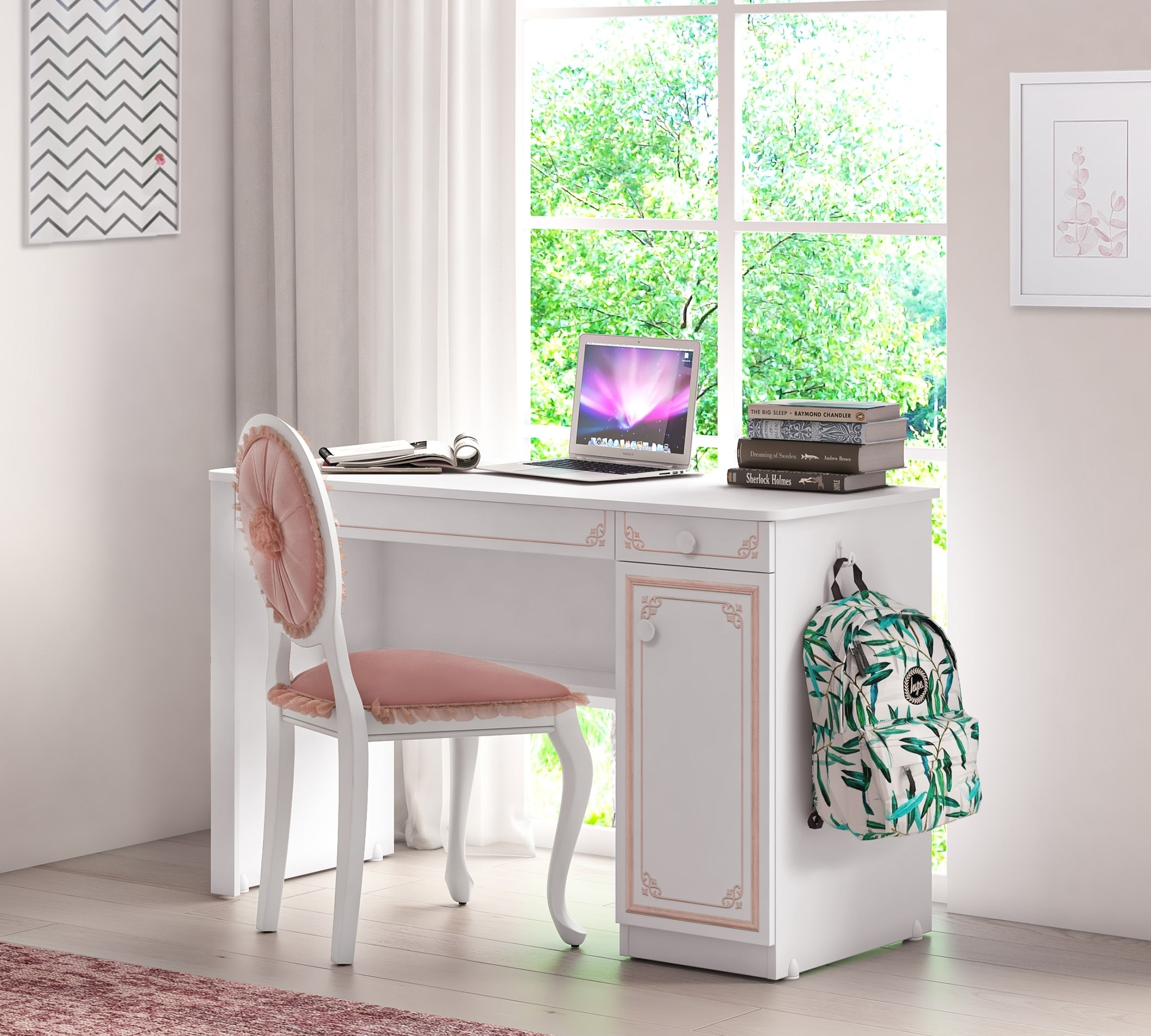 Masa de birou din pal, cu 1 usa si 2 sertare pentru tineret Selena Pink Alb / Roz, L120xl52xH75 cm imagine