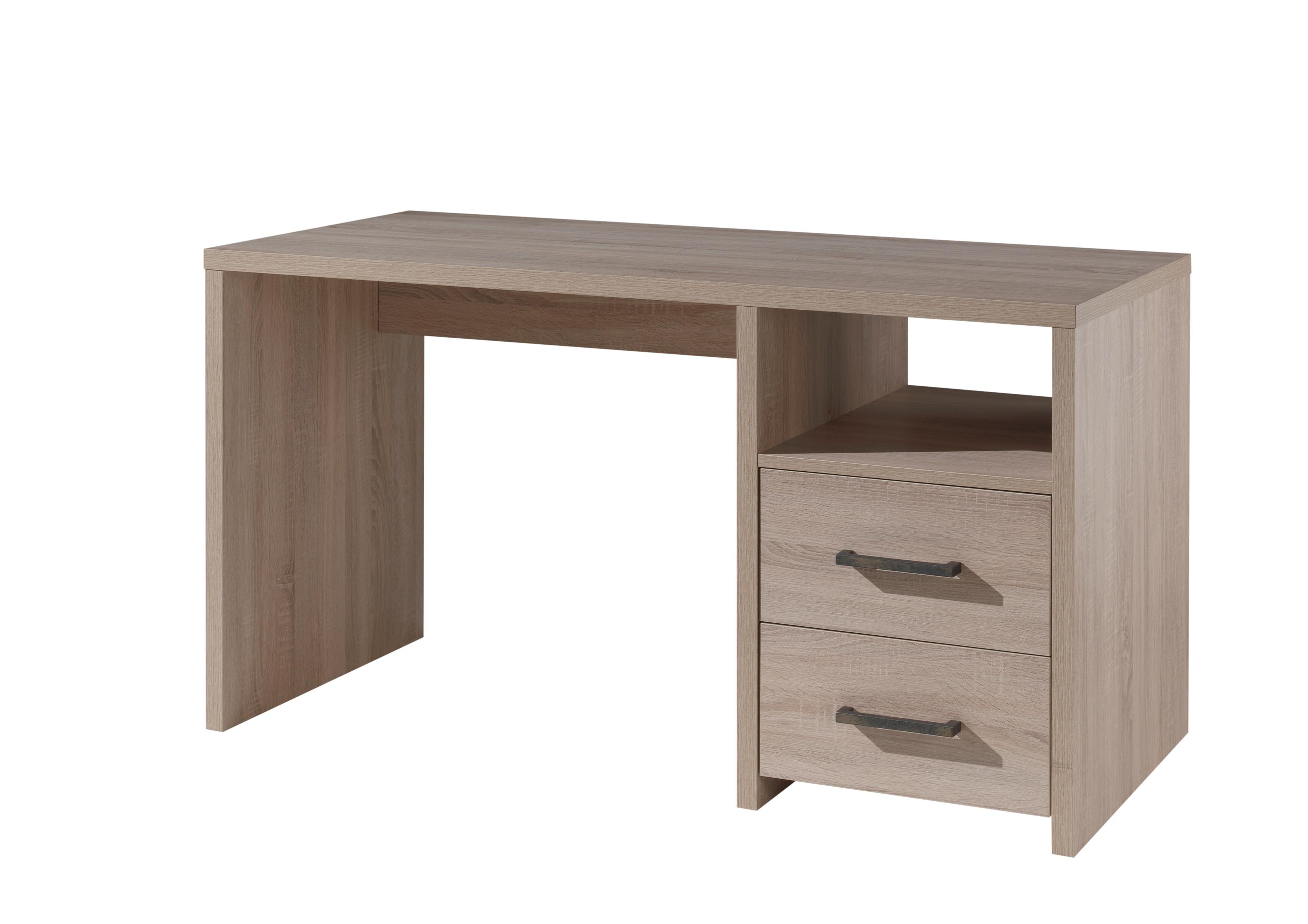 Masa de birou din pal cu 2 sertare, pentru copii Aline Stejar deschis, L140,4xl66,5xH77 cm imagine