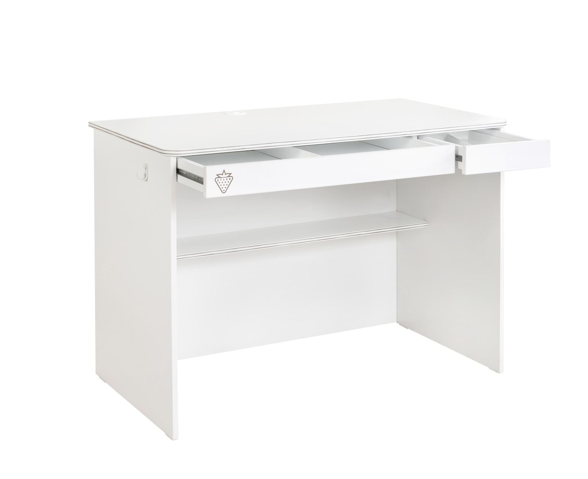 Masa de birou din pal cu 2 sertare pentru tineret White Small, L113xl59xH75 cm imagine