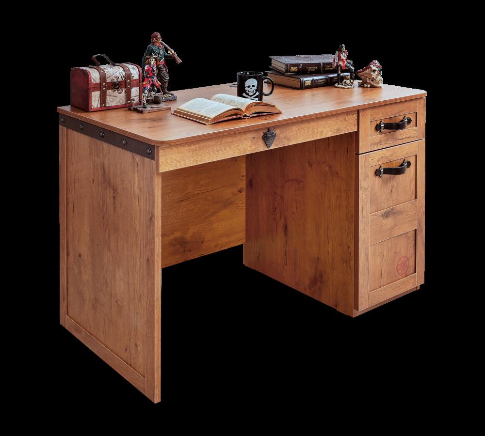 Masa de birou din pal cu 2 sertare si 1 usa pentru copii Pirate Brown L117xl60xH76 cm