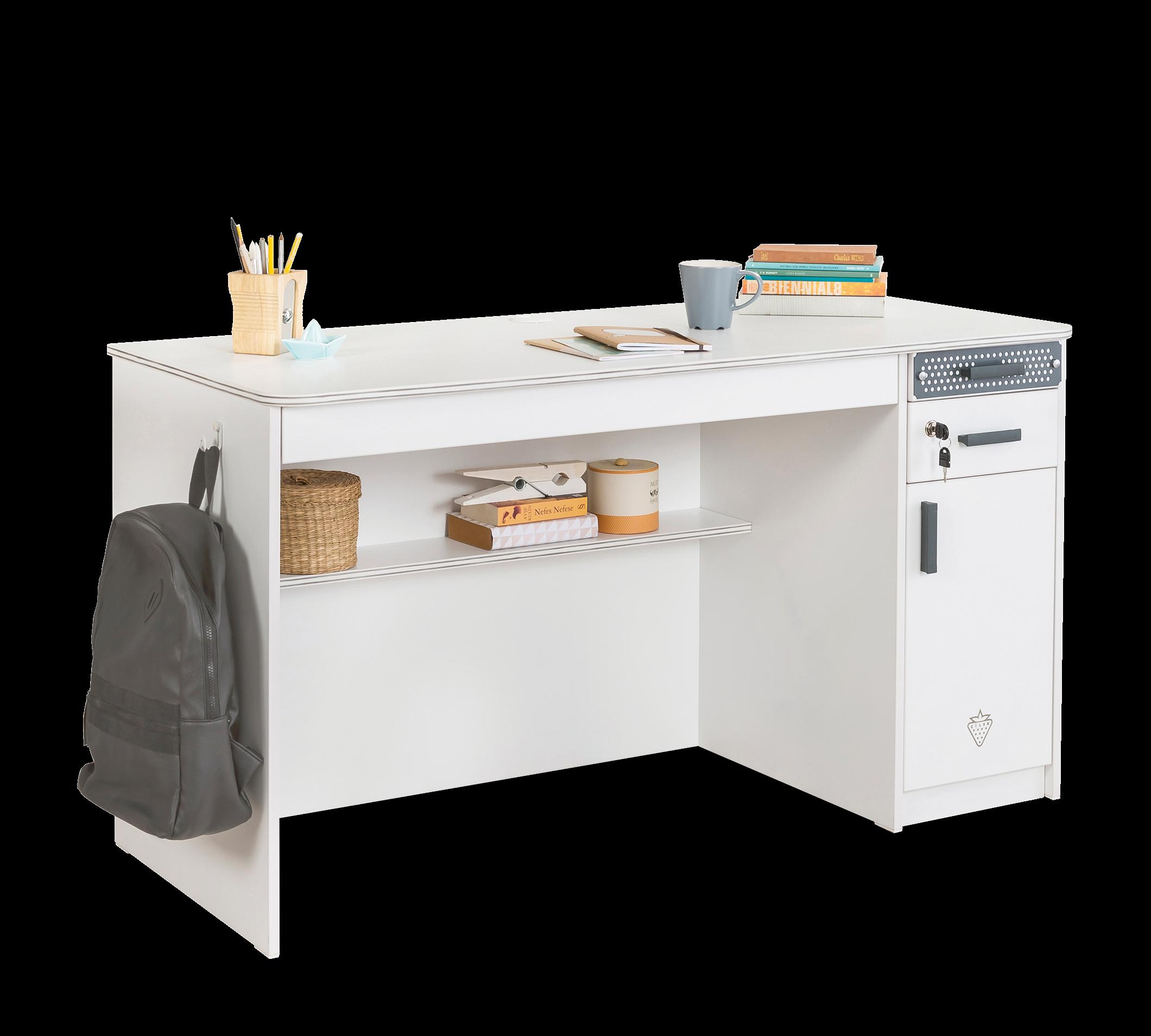 Masa de birou din pal, cu 3 sertare si 1 usa pentru tineret White Large, L138xl58xH75 cm imagine