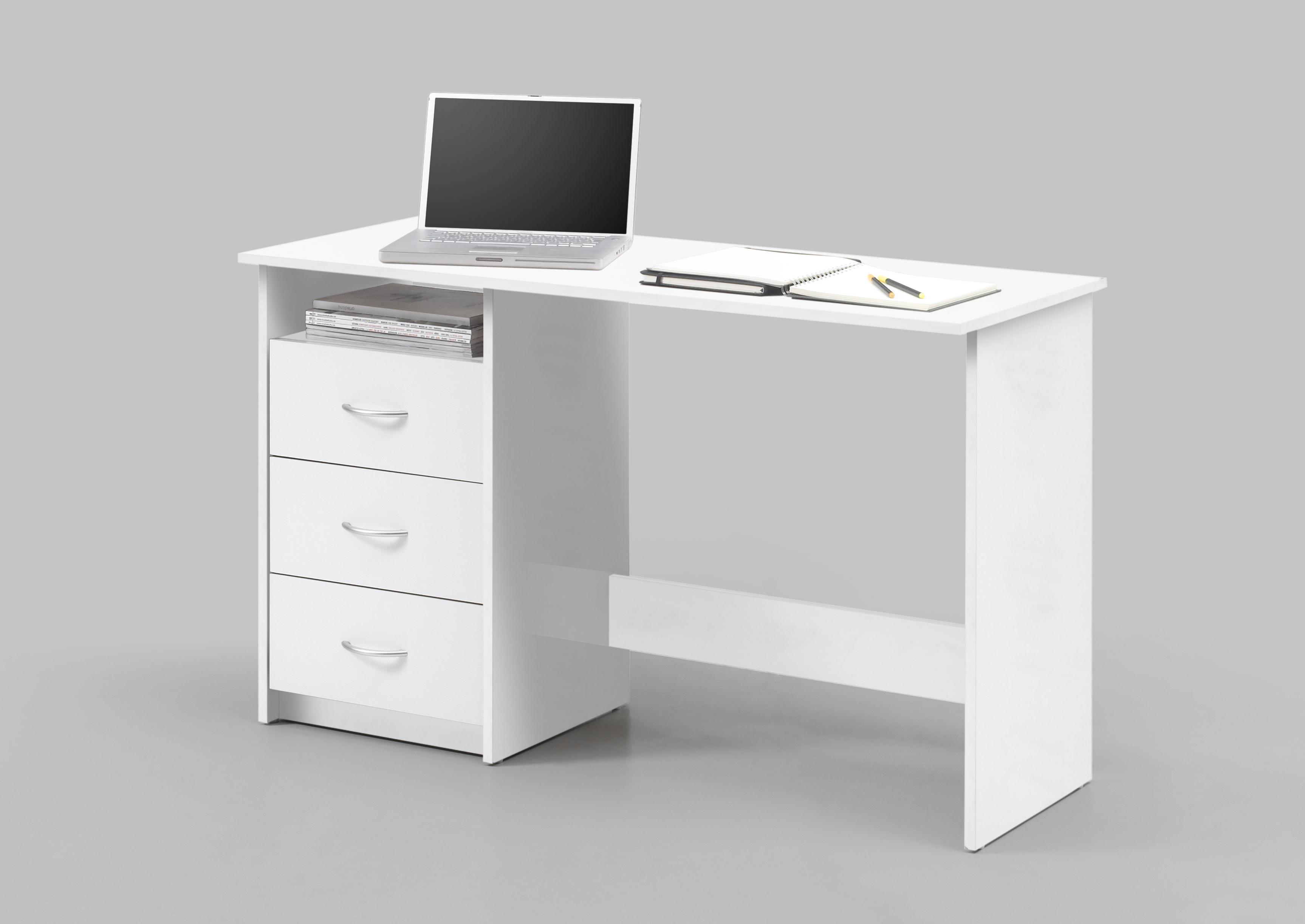 Masa de birou din pal, cu 3 sertare Adrianne Alb, L120xl50xH76 cm imagine