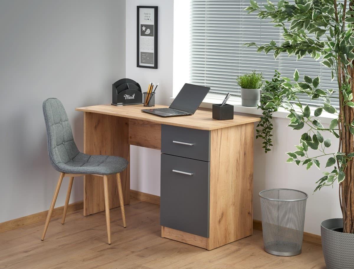 Masa de birou din pal, cu 1 sertar si 1 usa Elmo Stejar / Antracit, L120xl55xH78 cm imagine
