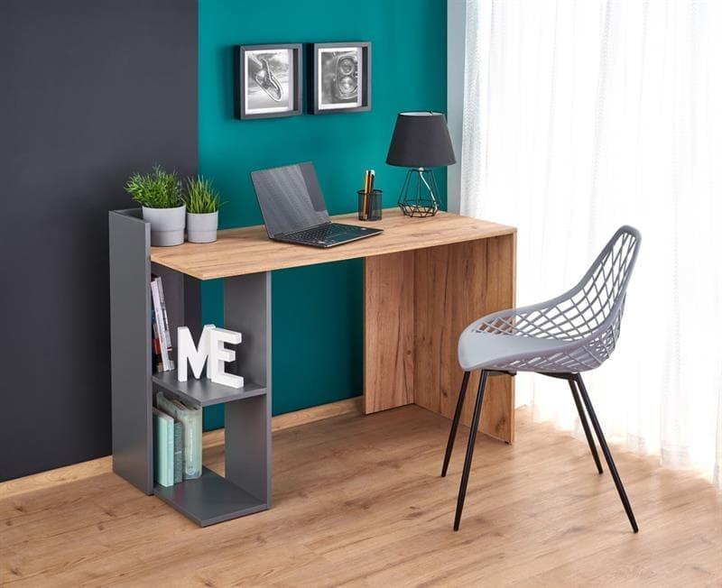 Masa de birou din pal Fino Stejar / Antracit, L122xl57xH85 cm imagine